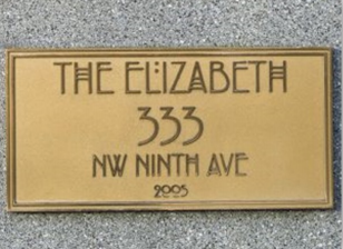 Elizabeth Lofts name plaque